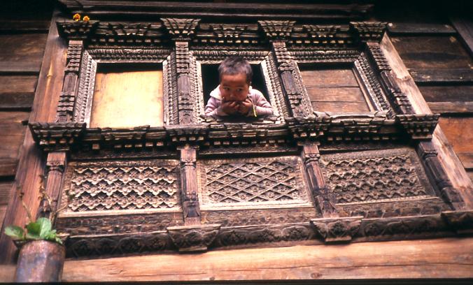 Kid in a window - Nepal